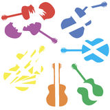 Colorful broken guitar vector. Colorful guitar set vector, broken guitar Stock Photography