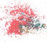 Colorful broken make up eyeshadow on white royalty free stock photo
