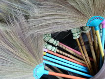 Colorful Brooms for Sale Royalty Free Stock Images