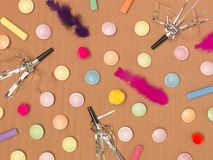 Colorful brown carnival background with donuts and other funny items. Nice colorful brown carnival background with donuts and other funny carnival items stock image