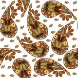 Colorful brown Paisley seamless pattern and seamless pattern in Royalty Free Stock Photography