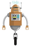 colorful brown robot with two antennas and one wheel icon Royalty Free Stock Photography