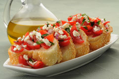 Colorful Bruschetta Stock Photography