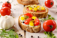 Colorful bruschetta Royalty Free Stock Photography