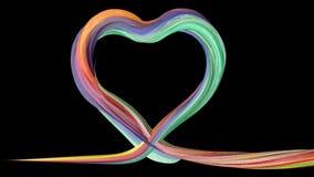 Colorful brush paints a heart shape