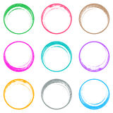 Colorful brush strokes circle buttons. Web design collection stock illustration