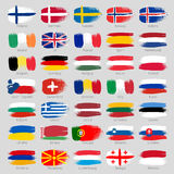Colorful brush strokes painted european countries Stock Photos