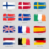 Colorful brush strokes painted european countries Royalty Free Stock Images