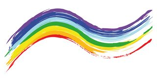 Colorful brush strokes in rainbow colors stock illustration