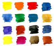16 colorful brush strokes Royalty Free Stock Photo