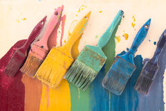Colorful brushes stock images