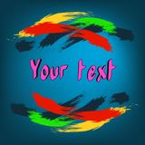 Colorful brushstrokes on a blue background royalty free illustration