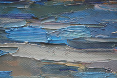 Colorful brushstrokes in oil on canvas Stock Photo