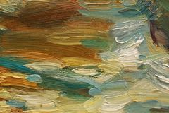 Colorful brushstrokes in oil on canvas Stock Photography