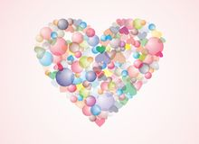 Colorful bubble heart background Stock Photos