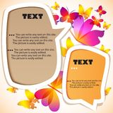 Colorful bubble for speech. Butterflies background stock illustration