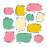 Colorful bubble speech set. Dialogue templates with different colors isolated on white background royalty free illustration