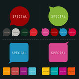 Colorful bubble talk with message special | modern template design set for label card website and business Stock Photos