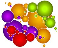 Colorful Bubbles Circles Orbs. A decorative and colorful assortment of randomly placed bubbles, circles, spheres or orbs in green, yellow gold, purple and red Royalty Free Stock Photography