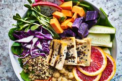 Colorful buddha bowl close up with grilled tofu Stock Photo