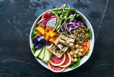 Colorful buddha bowl with grilled tofu and dragon fruit Royalty Free Stock Images