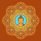 Colorful Buddha Mandala. Buddha face over ornate mandala. Esoteric vintage illustration. Indian, Buddhism, Thai spiritual decor element Stock Illustration