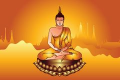 Colorful Buddha Siddhartha Gautama sit on gloden lotus with temple glowing light background. Colorful buddha siddhartha gautama glowing light sit  u us lotus vector illustration