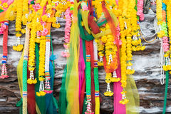 Colorful Buddhism garland on tree front view. Stock Images