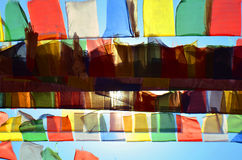 Colorful Buddhism prayer flags Dar Cho, lungta and sun in Svayambunatkh temple. Royalty Free Stock Photography