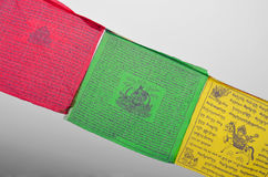 Colorful Buddhism prayer flags Dar Cho, lungta wth Buddism symbols. Stock Photo