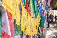 Colorful Buddhist prayer flags Stock Image