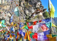 Colorful Buddhist prayer flags at Taktshang Goemba