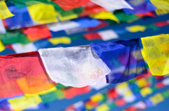 Colorful Buddhist prayer flags on the wind Stock Image