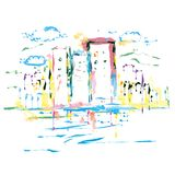 Colorful building abstract painting vector design royalty free stock photos