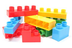 Colorful building blocks for children on white background. Heap of colorful building blocks, building blocks for children. on white background royalty free stock photography