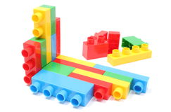 Colorful building blocks for children on white background Royalty Free Stock Photography