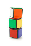 Colorful Building Blocks. Colorful Building Cubes Stacked on White Background royalty free stock image