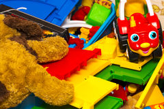 Colorful building blocks toys, toy dog, machine Royalty Free Stock Photo