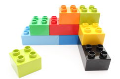Colorful building blocks on white background Royalty Free Stock Photos