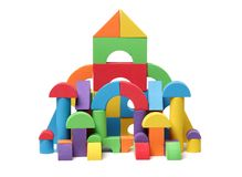 Colorful building blocks,. Is on the white background Stock Images