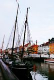 Colorful building and boat in nyhavn Copenhagen Denmark stock photos
