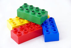 Colorful building bricks Stock Photos