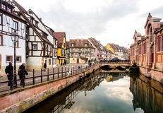 Colorful building in Colmar's old town, Alsace, France. COLMAR, FRANCE - DEC 29, 2015: Colorful building in Colmar's old town, Alsace, France. Colmar is the royalty free stock photo