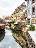 Colorful building in Colmar's old town, Alsace, France. COLMAR, FRANCE - DEC 29, 2015: Colorful building in Colmar's old town, Alsace, France. Colmar is the stock image