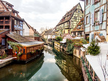 Colorful building in Colmar's old town, Alsace, France. COLMAR, FRANCE - DEC 29, 2015: Colorful building in Colmar's old town, Alsace, France. Colmar is the royalty free stock photos