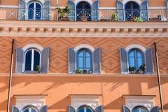 Colorful building facade. Teatro di Pompeo Square. Colorful building facade. Rome, Italy stock images