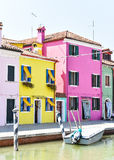 Colorful Building Facades. Colorful buildings along the canal in Italy stock photography