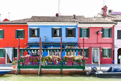 Colorful Building Facades. Colorful Buildings along the canal near Venice, Italy royalty free stock images