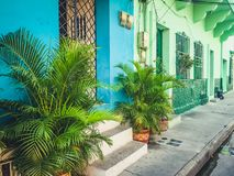 Colorful building facades of old town in Cartagena , Colombia.  royalty free stock photos