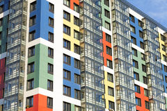 Colorful building with glass balconies. New building with glass balconies royalty free stock photography